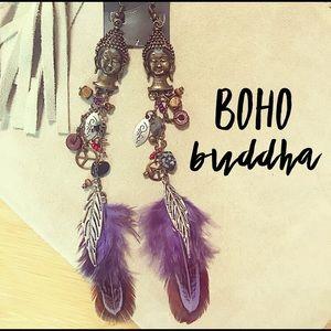 NEW!  Bohemian Style Buddha Feather Earrings